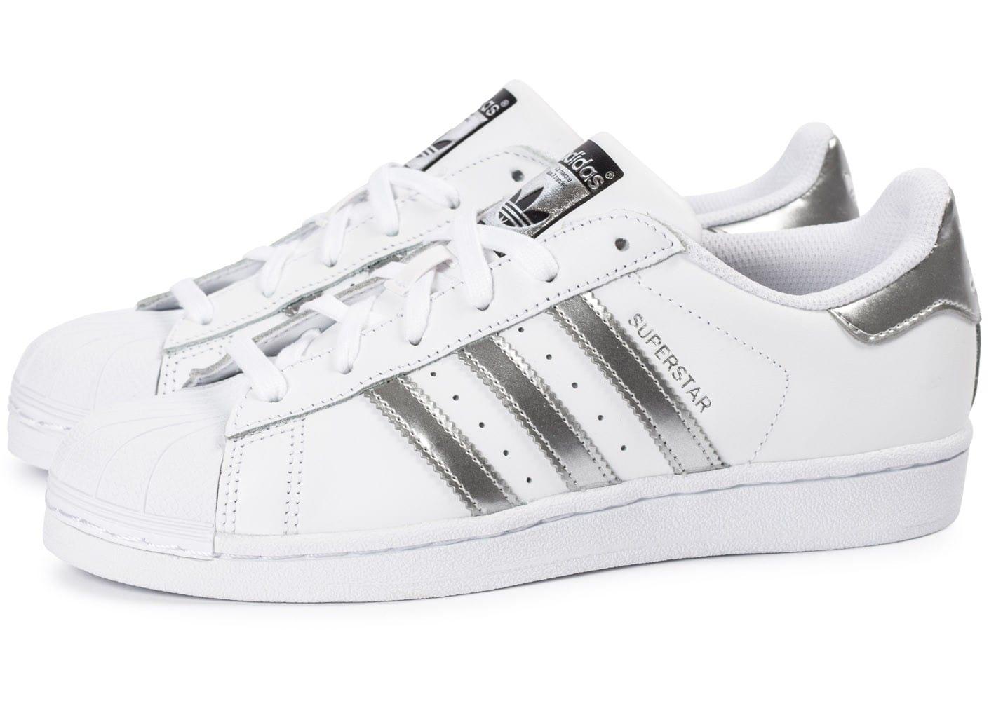 site réputé 8d495 4cc41 adidas superstar blanc argent