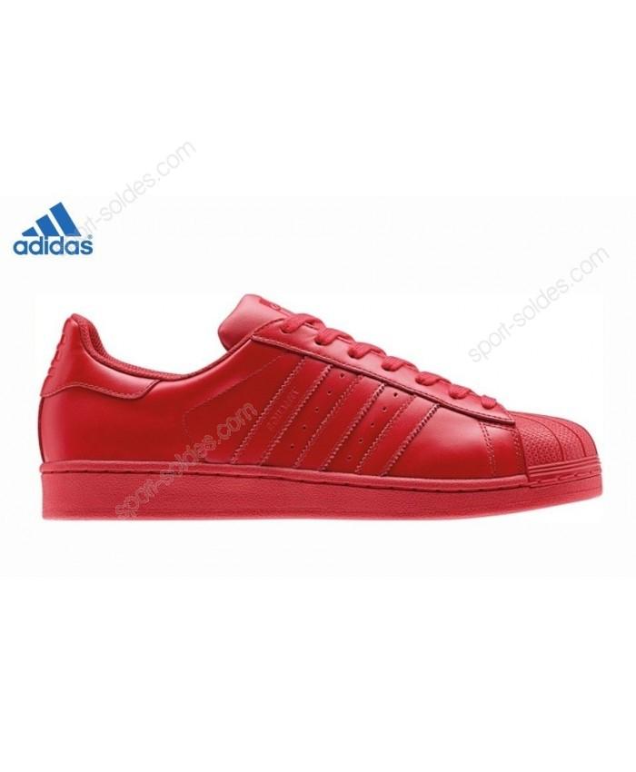 acheter Adidas basket original Superstar Soldes X Pharrell Williams SuperCouleur Rouge S41833 pas cher 2018 soldes
