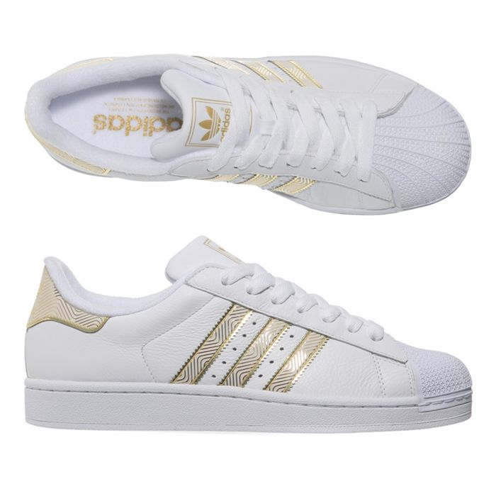 basket adidas blanche et or 1