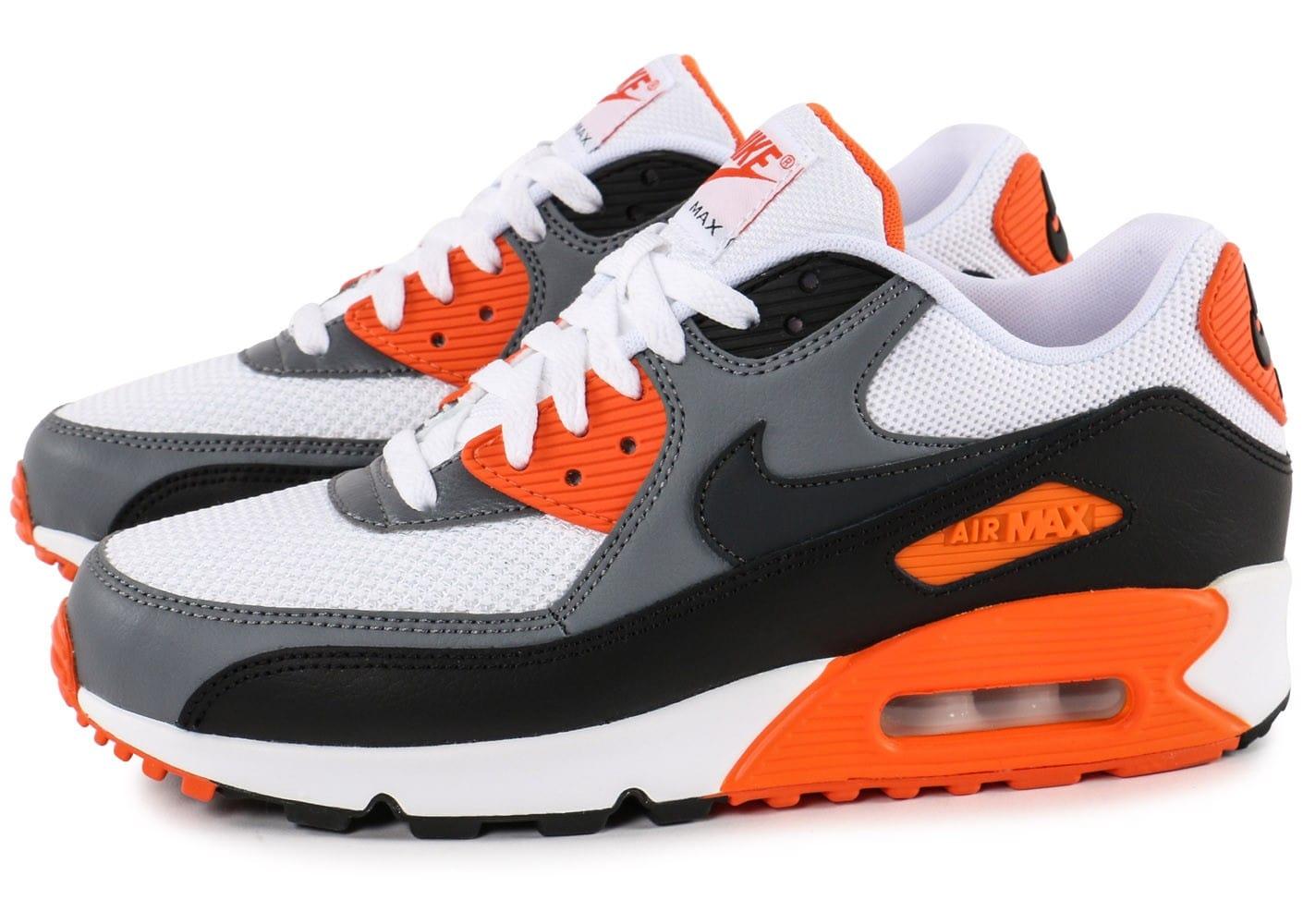 size 40 a611a 10000 New  Nike  Air Max 90 Couples Chaussures de course Blanc Gris Orange Louvre  Y167000002454 .